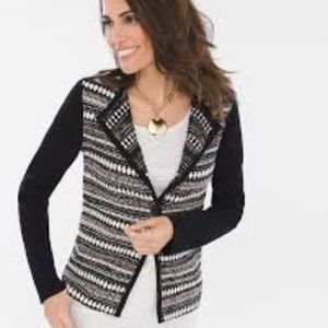 NWT CHICOS Textured stripe cardigan sweater  Sz 2